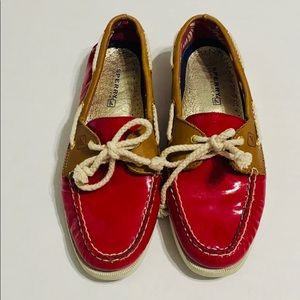 Sperry Red Patent Leather Boat Shoes